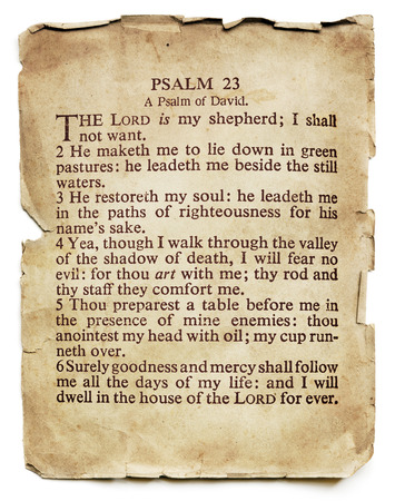 Psalm 23 on old paper, isolated on white. 스톡 콘텐츠