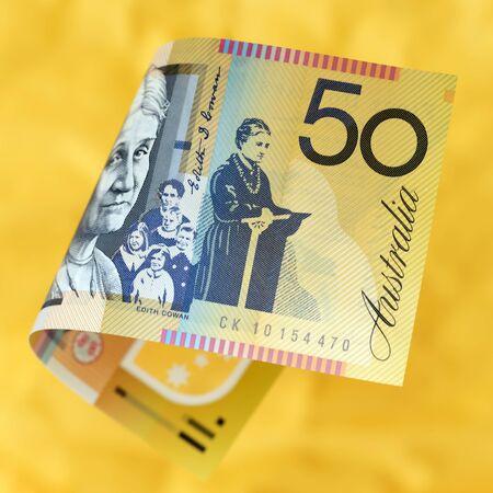활기찬 황금 배경 위에 호주 돈입니다.