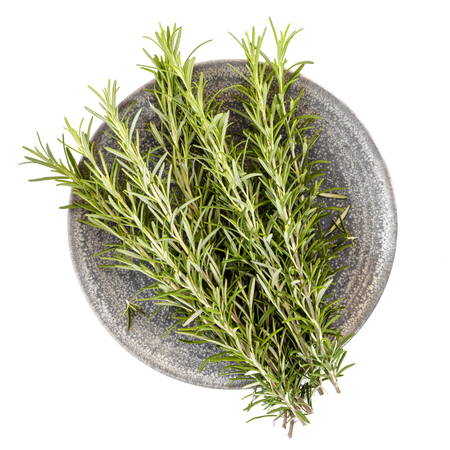 Fresh rosemary on stone plate, top view, isolated on white.