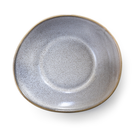 Empty gray stoneware dish.  Top view, isolated on white.