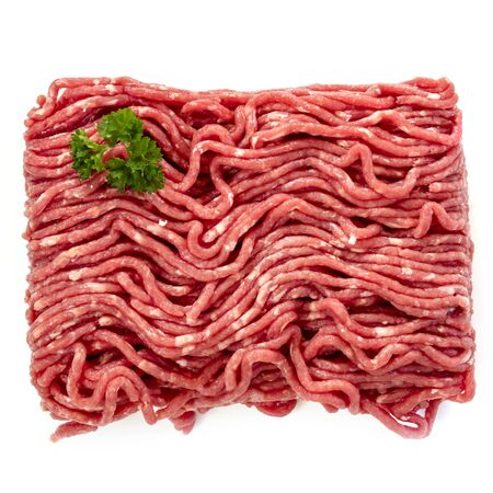 Raw ground beef, top view, isolated on white.