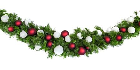 Christmas garland with red silver baubles, isolated on white.