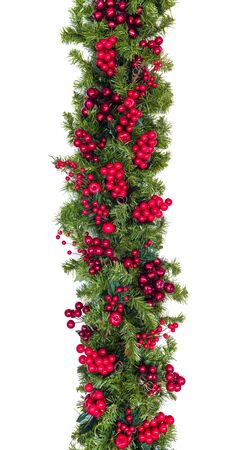 Christmas garland with red berries, isolated on white. Vertical hang.