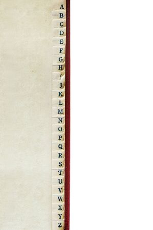 A to Z index of vintage address book, border over white background.