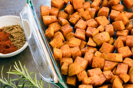 Roasted sweet potato with cumin and paprika.