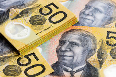 Australian money background. Fifty dollar notes. Banque d'images