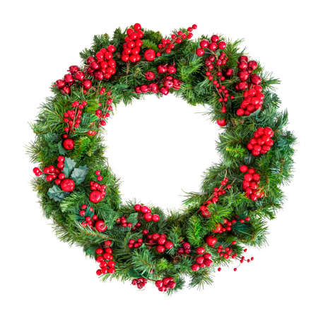 Christmas wreath or garland with red berries, isolated on white.