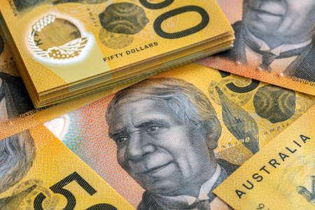 Australian fifty dollar bills.  Full frame background. Stockfoto