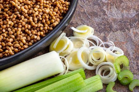 Lentils, leeks and celery.  Ingredients for healthy vegetarian soup. Stockfoto