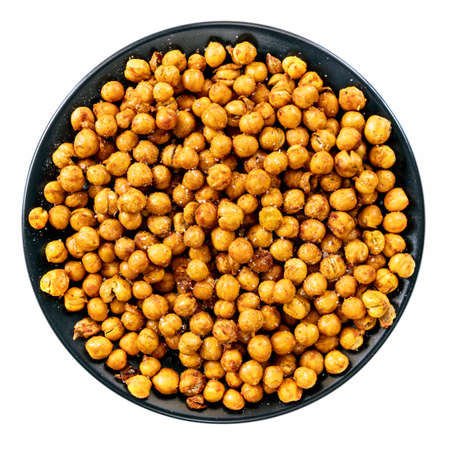 Dish of airfried spiced chickpeas, top view, isolated on white.  Healthy snacking, Stockfoto