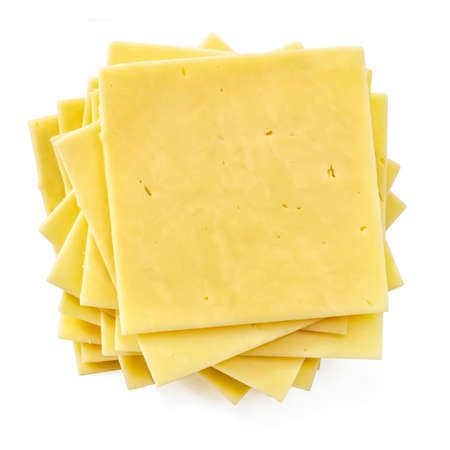 Stack of cheese slices, top view, isolated on white.  Natural cheddar.