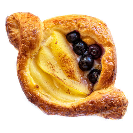 Delicious Danish pastry with apple and blueberries, isolated on white background.  Top view. Stockfoto