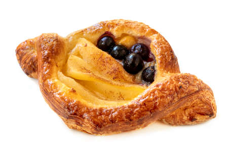 Delicious Danish pastry with apple and blueberries, isolated on white background. Stockfoto