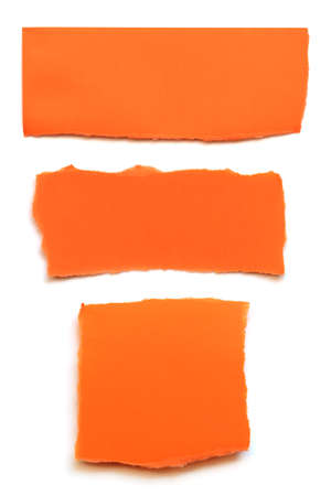 Collection of fluorescent orange paper tears isolated on white. Stockfoto