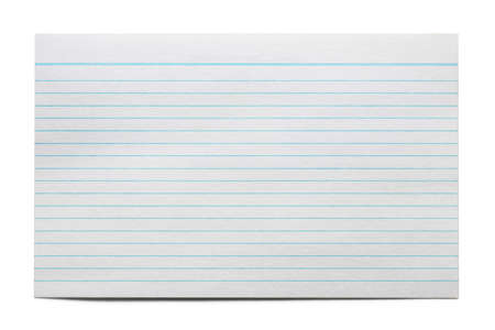 Blank index card isolated on white.  Blue lines, ready for message.
