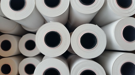 Thermisch papier rollen Stockfoto