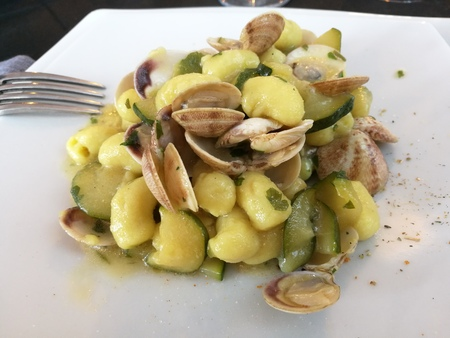 gnocchi with clams and courgettes
