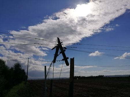 telephone pole: telephone pole ripped