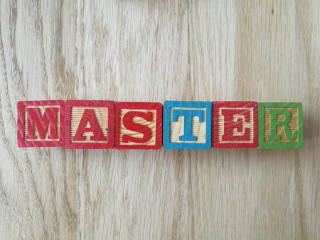 master: master written Stock Photo