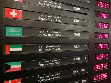global rates: currency exchange rate on digital LED display board