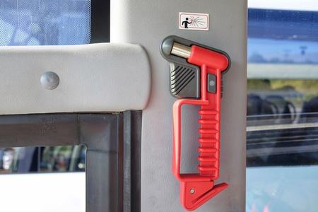 hammer glass breaker on the bus