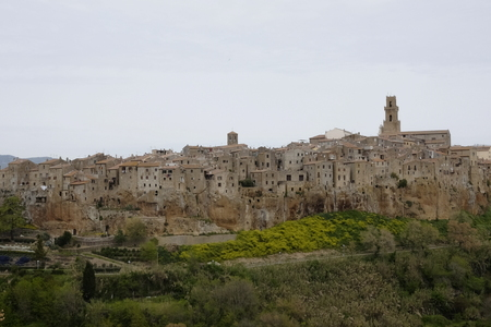 view of the medieval town of Pitigliano