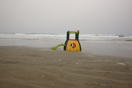 deserted beach game in winter