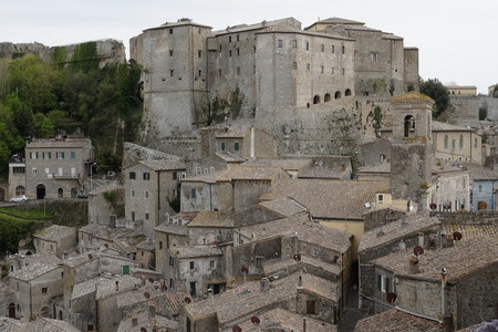 view of the roofs of Sorano, Tuscany