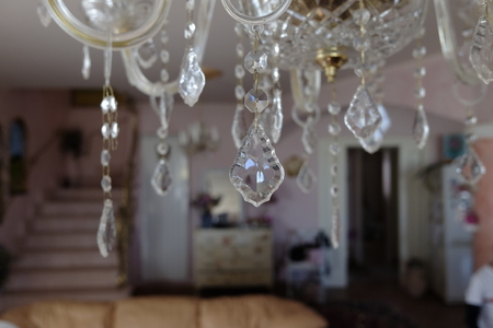 crystal chandelier drops detail