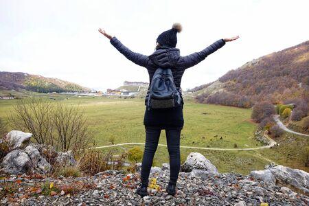 girl admires the landscape of Campitello Matese