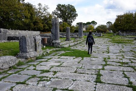 tourist in the archaeological site of the ancient city of Sepino