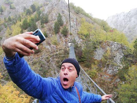 crazy selfie on the Tibetan bridge Banco de Imagens