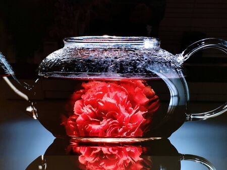 herbal tea with rose in infusion