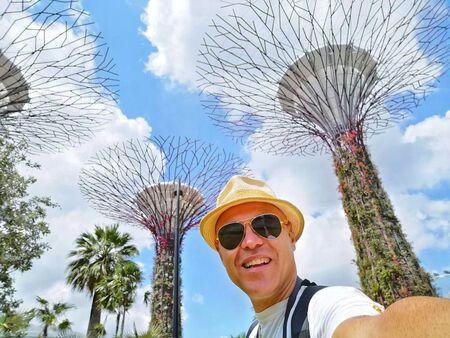 selfie in marina bay in singapore