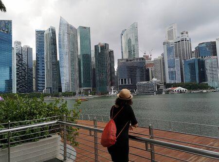 view of marina bay in singapore Stockfoto