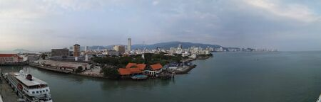 the city of Penang in Malaysia seen from the harbor Stockfoto