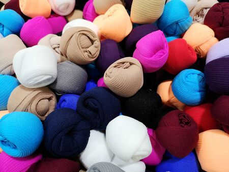 set of colored tights for sale Stockfoto