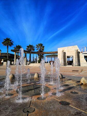 square of pescara with fountain Foto de archivo