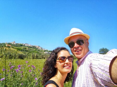 selfie of couple in the countryside Standard-Bild