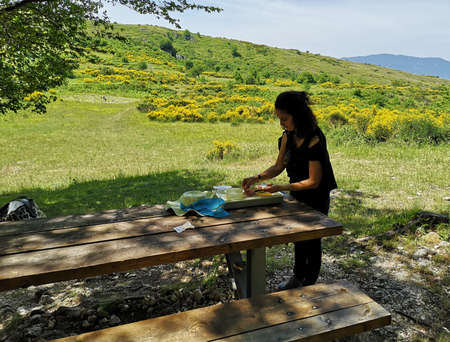 woman prepares and picnics in the mountains