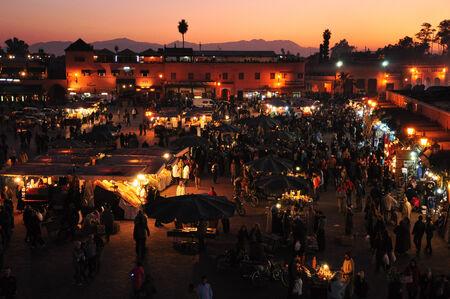 marocco: Sunset at Jamaa el-Fna Square Stock Photo