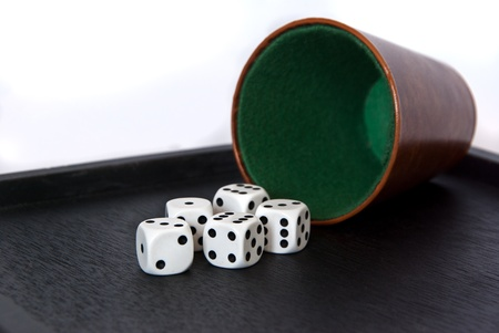 wuerfelbecher with dice Stock Photo - 13572658