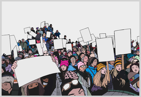 Illustration of crowd protesting for human rights with blank signs in color