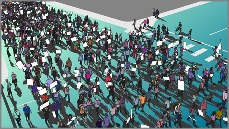 Illustration of crowd protest and march in color from high angle view Illustration