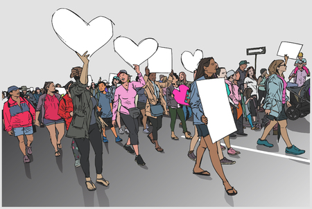 Illustration of womens march in color