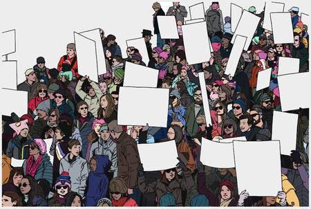 Illustration of crowd protest in color