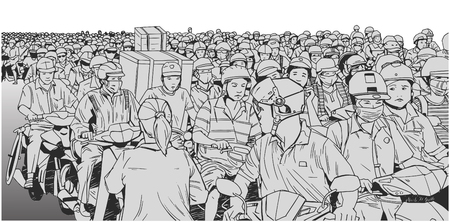 Hand drawn illustration of massive traffic jam in South East Asia with motorbikes