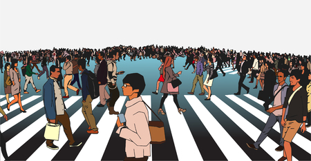 llustration of mixed ethnic crowd crossing street on zebra in urban environment in color Illustration