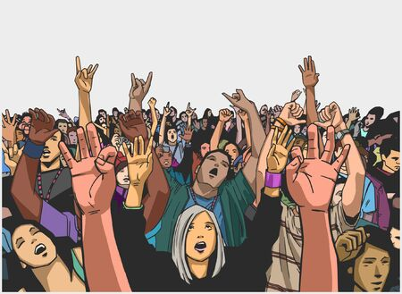 crowd happy people: Illustration of massive crowd cheering at a concert in color