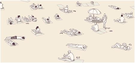 Ilustração, de, pessoas, relaxante, e, sunbathing, ligado, areia Foto de archivo - 75451595